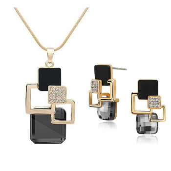 Classic Geometric Square Crystal Jewelry Set 5