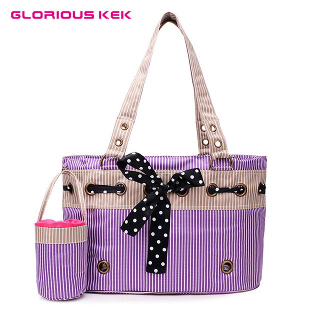 Cute Dog Bag Carrier For Small Dogs Summer Stripe Canvas Pet Cat Portable Handbag