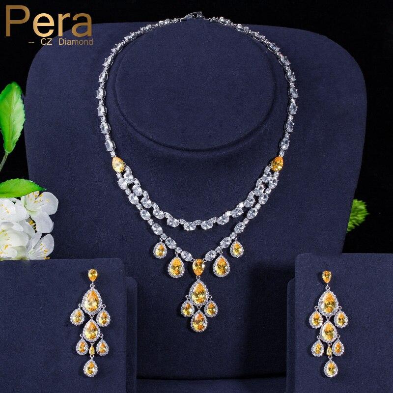Pera Luxury Tessal Long Water Drop Dangle Yellow Cubic Zirconia Big Necklace and Earring for Women