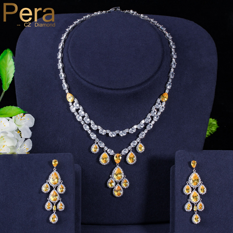 Pera Luxury Tessal Long Water Drop Dangle Yellow Cubic Zirconia Big Necklace and Earring for Women Engagement Party Jewelry J151 pera elegant women pearl jewelry set for party gift big leaf shape cubic zirconia long dangle necklace and earrings j233