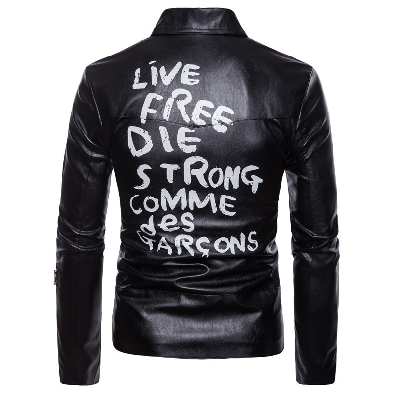 AOWOFS Spring Leather Jacket Men Letter Print Leather Biker Jacket Men Motorcycle Coats Plus Size 5XL Jaket Men deri mont ceket