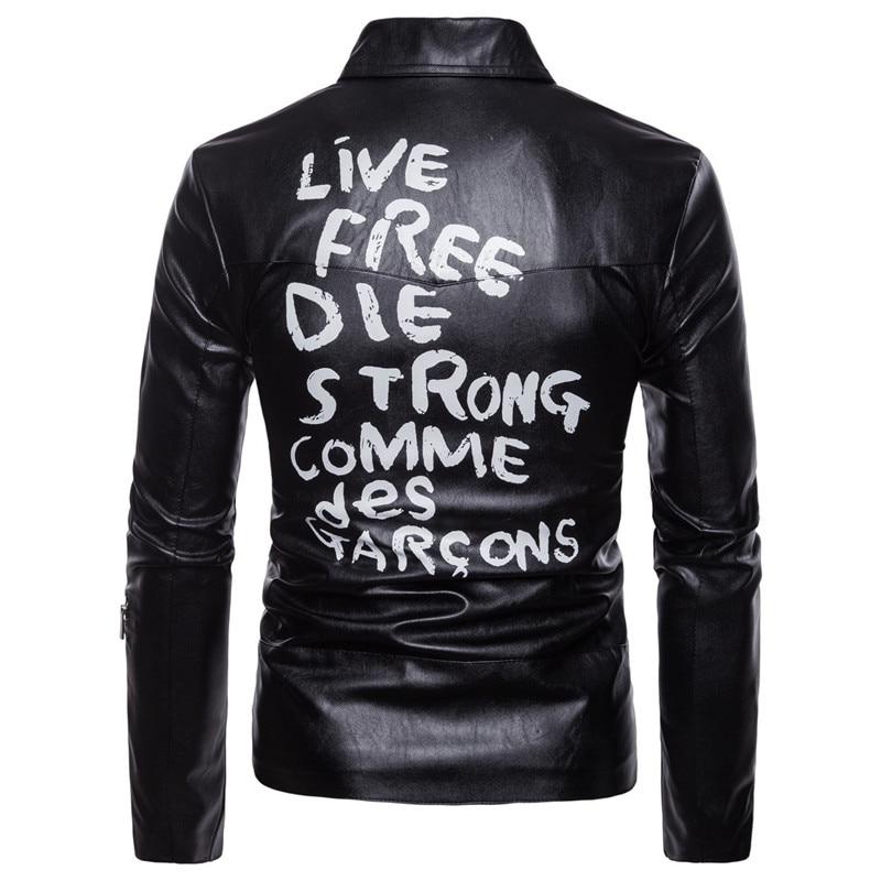 AOWOFS printemps veste en cuir hommes lettre imprimer veste de motard en cuir hommes moto manteaux grande taille 5XL Jaket hommes deri mont ceket