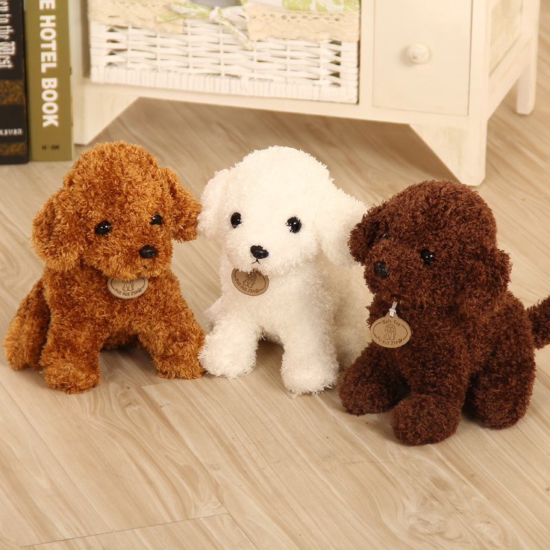 Newest 4 colors 18 / 25 cm Cute Teddy dog Stuffed animals Soft Plush Dolls Dark Brown Beige White Plush Poodle Toy best gift usb powered funny cute stress relieving humping spot dog toy brown chocolate white
