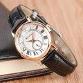 Senhoras Couro Moda Quartz Watch Mulheres Vestido Casual reloje mujer 2017 montre femme Relógio das Mulheres Ouro Rosa