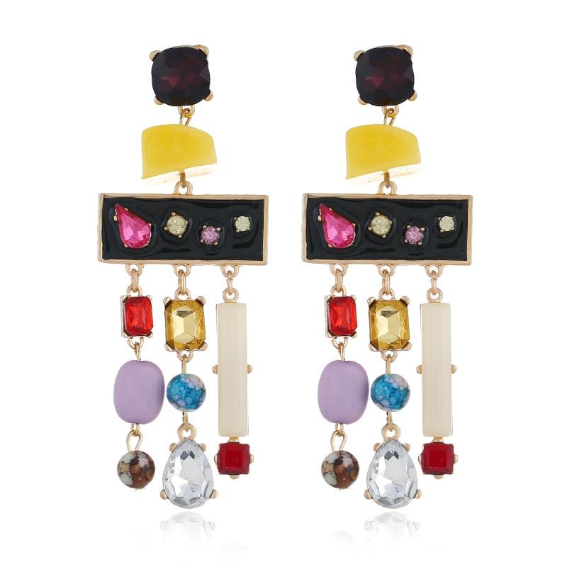 Fashion Korean Version of Color Alloy Tassel Darrings Metal Geometric Personality earrings