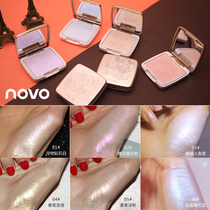 Novo Highlighter Facial Bronzers Palette Makeup Glow Kit Face Contour Shimmer Powder Body Base Illuminator Highlight Cosmetics image
