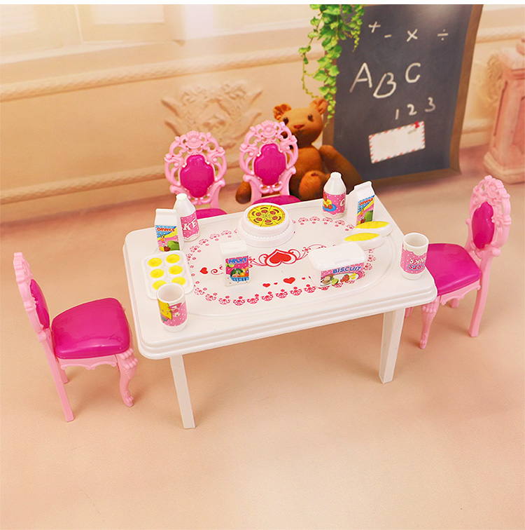 2016 New  Birthday Reward Kids Play Set  dinning room Doll Equipment Furnishings For Barbie Doll,play home toys woman kitchen