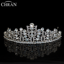 CHRAN Brand Wholesale Bridal Hair Jewelry Accessories Classic European Style Crystal Women Headband Rhodium Plated Wedding Crown