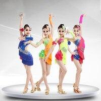 New Design 4 Color Children S Ballroom Stage Clothing Latin Dance Dress Girls Latin Dance Costume