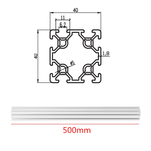 500mm Length 4040 Double T-Slot Aluminum Profiles Extrusion Frame Based on 2020 For CNC 3D Printers Plasma Lasers