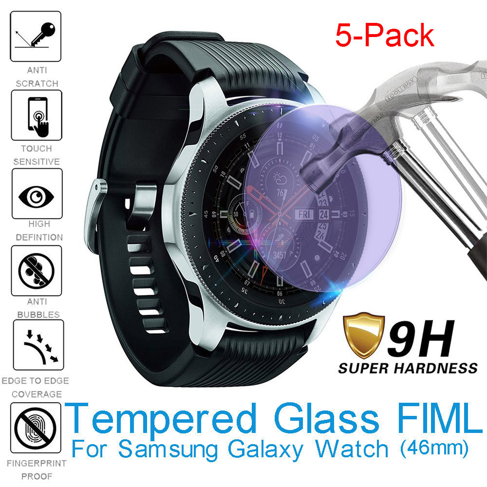 5pcs Anti Blue light Tempered Glass Screen Protector Full Cover Film For Samsung Galaxy Watch 46mm Protective Glass Bubble Free(China)