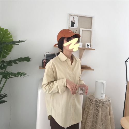 Pink Tops Blouse Collar Full breasted Korean 2019 apricot navy Leisure Shirts And yellow Blue down Single Version Sleeves Women Turn Loose For 4ISOxnqTz