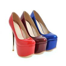 Thin high heels shoes 16cm platform shallow party shoes wedding sexy elegant solid women pumps big size 34-48