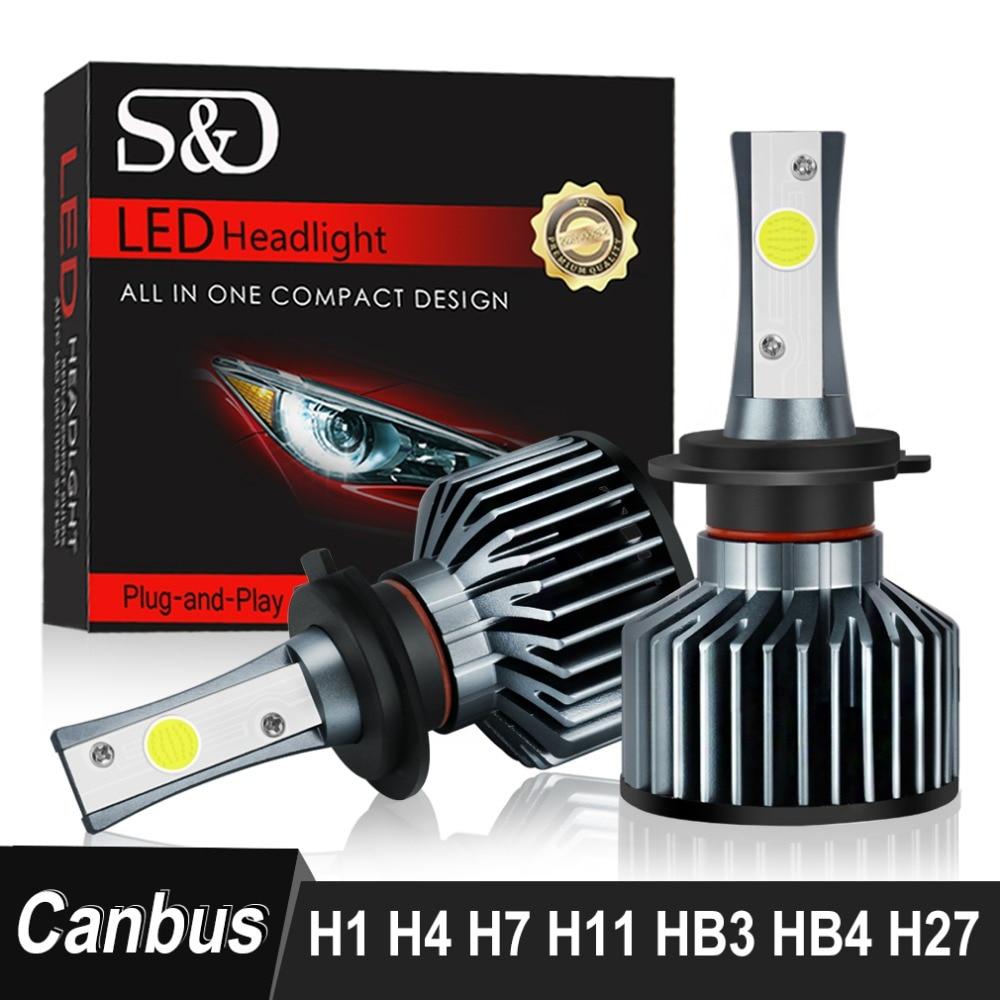 S & D Auto Scheinwerfer Lampen Fehler Freies H4 H7 H11 H1 H3 9005 9006 HB4 HB3 H27 LED Lampen 880 881 72 watt 8000LM 6500 karat Auto Lichter 12 v 24 v