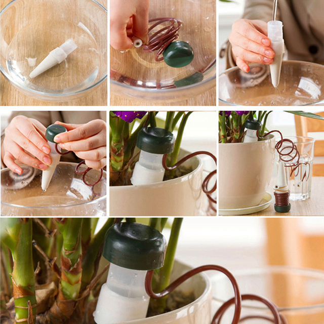 8 pcs/Lot Indoor Auto Drip Irrigation Watering System Automatic Plant Waterers For Houseplant Seen TV Novelty Households