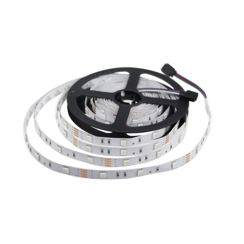 Flexible led strip 5050 rgb 5m 30 leds/m non-waterproof white/warm white/R/G/B/rgb dc12v 5050 led strip for home white pcb
