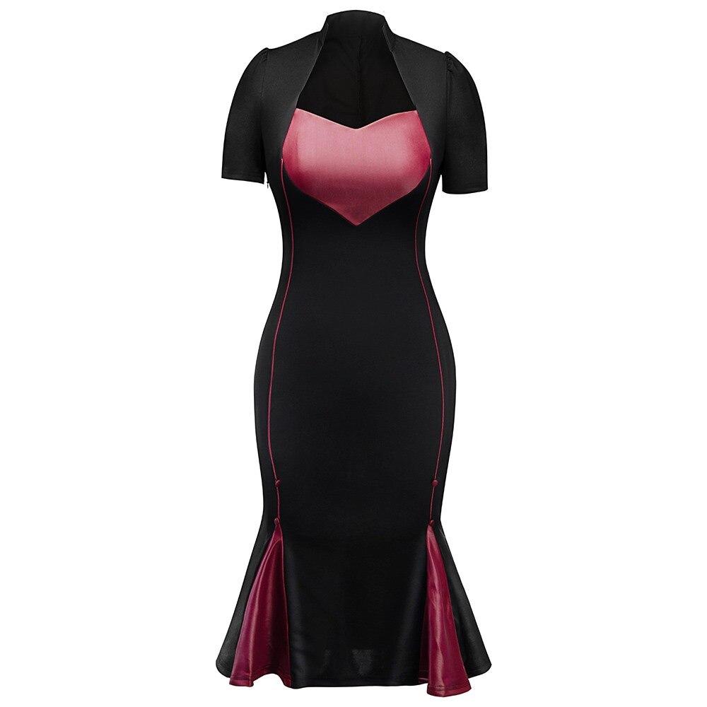 Vintage Bodycon Mermaid Dress Women Heart Shaped Print Office Ladies Elegant Party Evening Gothic Black Sexy Split Midi Dresses