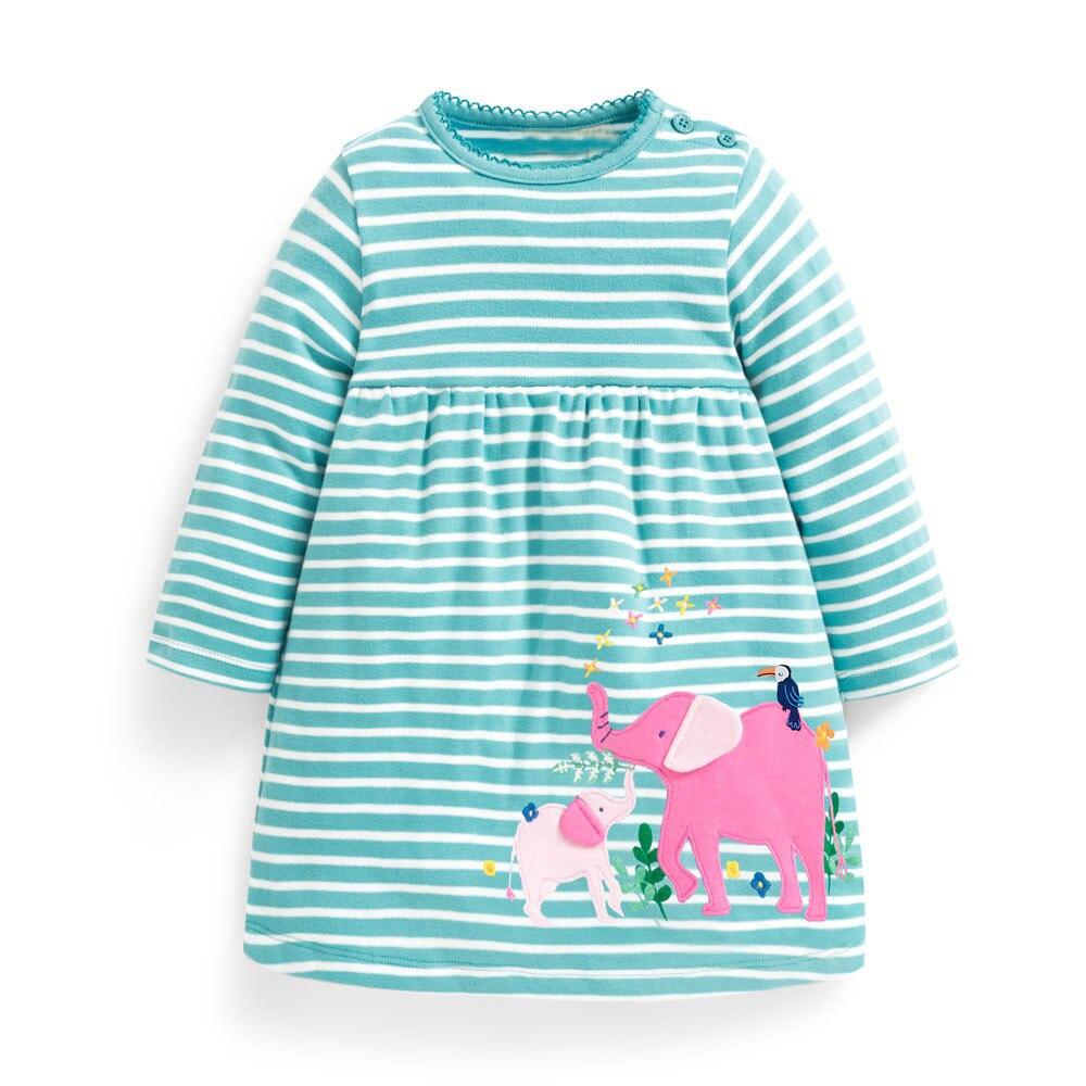 Princess Dress with Animal Appliques Autumn Winter Cotton Kids Dresses for Girls Costume Toddler Girl Dress Children Vestidos