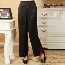 Китайские женские брюки с вышивкой черные Размеры от M до XXXL