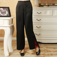 Chinese Womens Embroidery Pants Trousers Black Size M to XXXL
