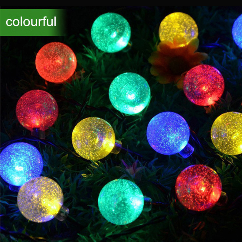 ᐊ30Led Solaire Boule de Cristal RGB LED Cha ne Lumi¨res Extérieures