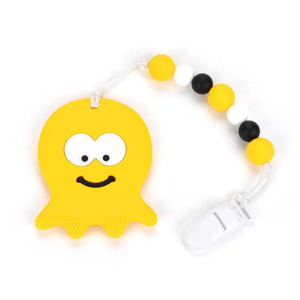 Juguetes Para dentición de bebé pulpo chupete Clip cadena ducha regalo silicona dentición collar BPA libre de pezón infantil soporte juguete de enfermería