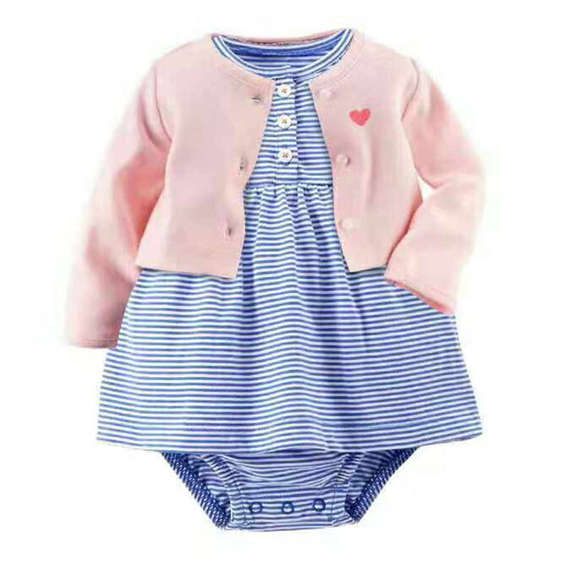 2018 NewBorn Baby bebes Girls 2pcs Sets Full Sleeve O-Neck dress white colors Suits 100% Cotton Baby Clothing kids girl Sets