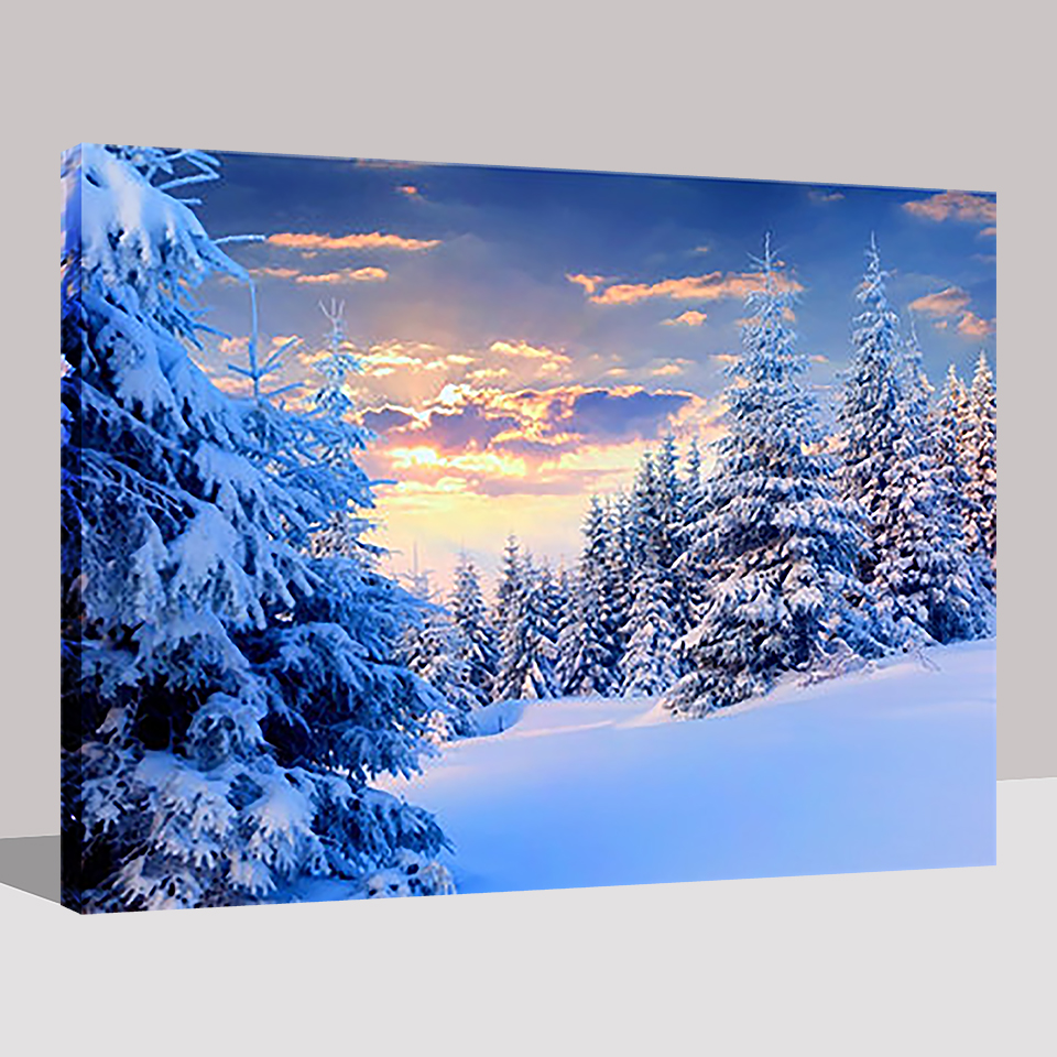 DIY Oil Canvas Paint Painting By Numbers Snow Forest Drawing Colors On Hand Paint Framework Wall Paints Modern Landscape Picture in Painting Calligraphy from Home Garden