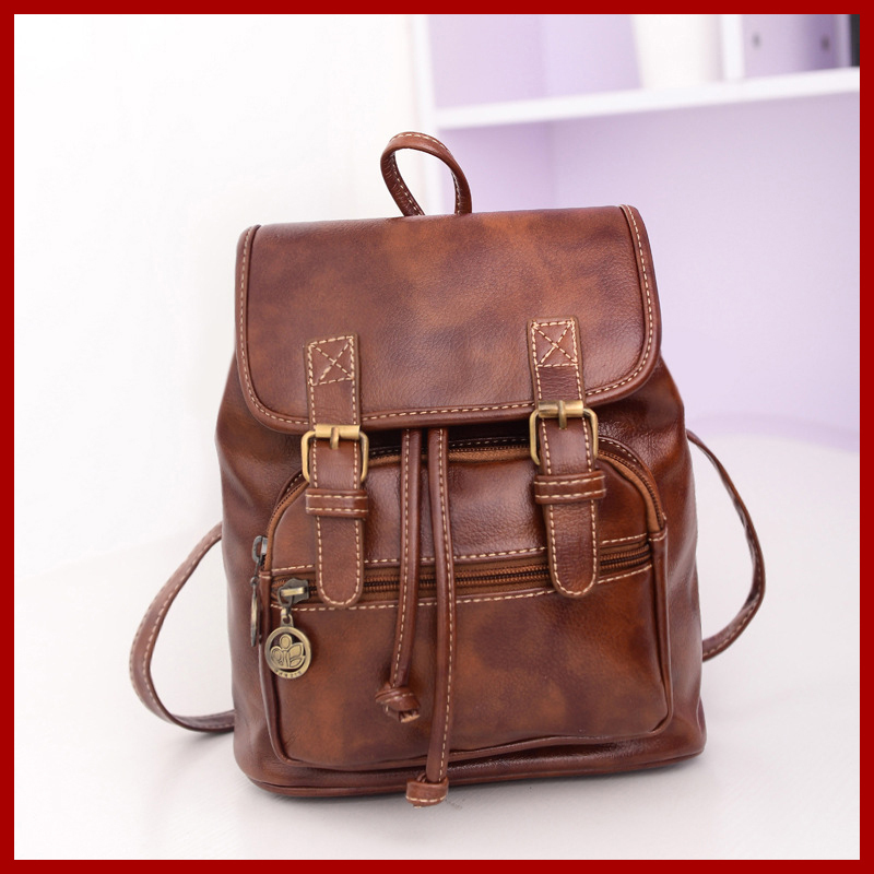2015 New Women Backpack Genuine Leather Women's Casual Day Packs School Backpacks Girl's Mochila Retro Vintage Backpack Bag