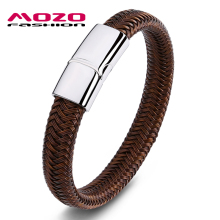 MOZO FASHION Men Bracelet Jewelry Metallic Line Braided Bracelets & Bangles Wire-cable Chain Stainless Steel Wristband PS2026 new arrival spring wire line colorful titanium steel bracelet stretch stainless steel cable bangles for women