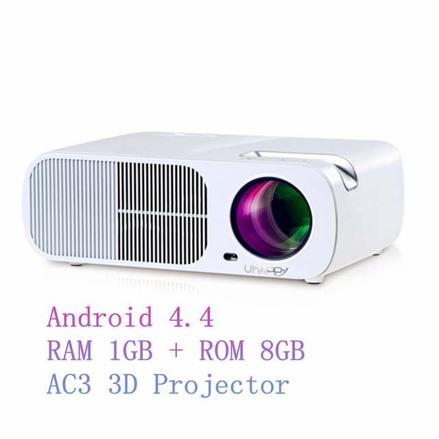 Uhappy s20 pro lcd led proyector 800*480 de la ayuda hd 1080 P Interfaz Bluetooth Wifi USB HDMI Android 4.4 Proyectores Wifi AC3