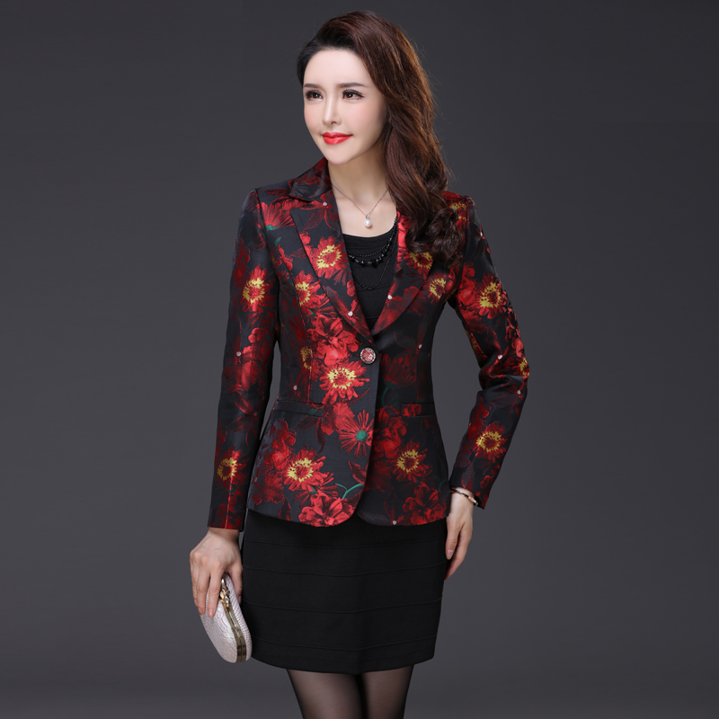 High Quality 2017 Free Shipping New Slim Mother Long Sleeved Suit Coat Women Blazers And Jackets Women Work Wear Fashion Red