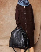 Heiß-verkauf casual echtem leder big bag handtasche der frauen eine schulter kreuzkörper kurze größe 52,5*41 schwarz