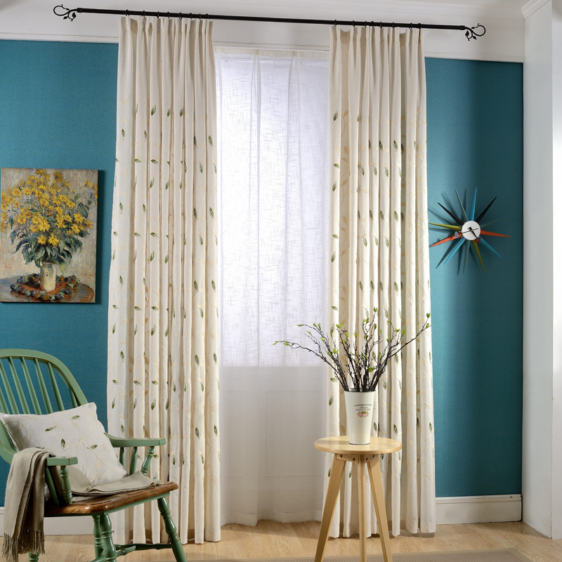 Natural Embroidery Cotton Linen Curtain For Bedroom