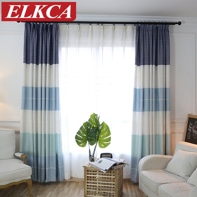Japan Style Horizontal Striped Curtains For Living Room Thick Jacquard Faux Linen Bedroom