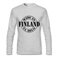 Men Vintage T Shirt Unique Novelty Made In Finland Clothing High Quality Long Sleeve Mens Shirts