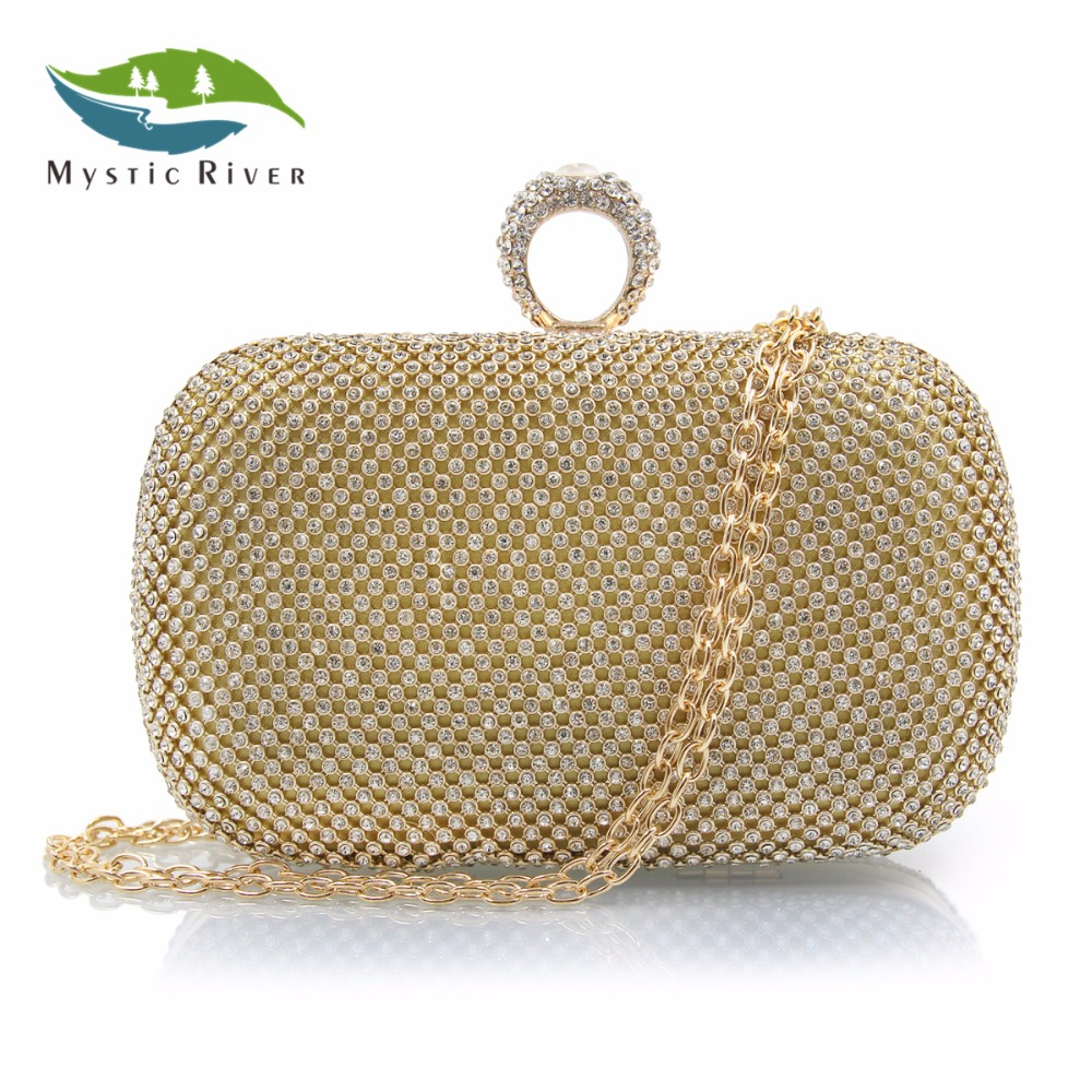 Mystic River Women Evening Bag Ring Rhinestone Clutch Bags Wedding Party Purse Gold Black Diamond Day Clutches  mystic river designer pearl bags circle shape beaded clutches women wedding bag with chain lady evening clutch purse