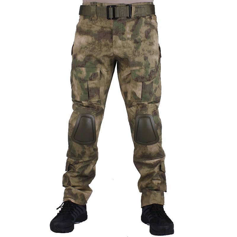 Camouflage military Combat pants men trousers tactical army pants with Removable knee pads AT-FG