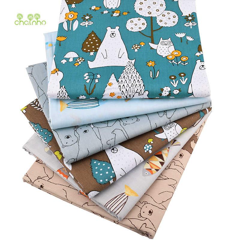 Chainho, новые медведи и рыбки твиловая, хлопковая ткань для DIY стеганого шитья ребенка и детей/лист, подушка, подушка, материал занавеса