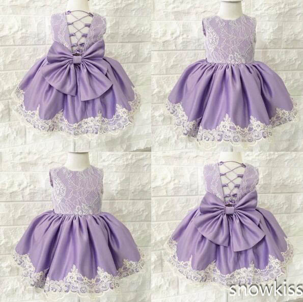 Purple cute baby girl summer dress Cute crew neck puffy lace appliques open back kids 1st birthday outfits with bow