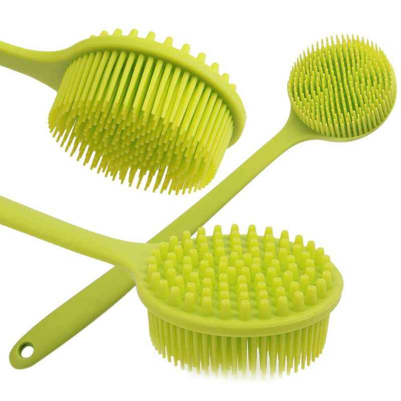 Back Brush, Silicone Body Brush Double Sided Brush, Long Handle Anti-slip Shower Brush