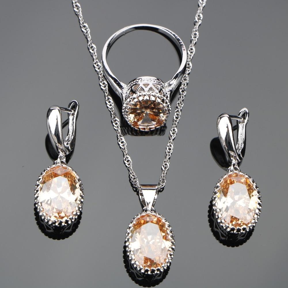 New Silver 925 Wedding Costume Jewelry Sets Orange Zircon Women Set of Earrings Rings Necklace Pendant Stones Jewelery Gift Box