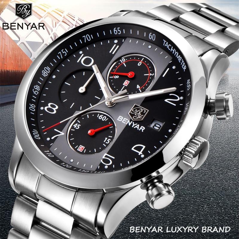 BENYAR New Quartz Chronograph Watch Men Steel Waterproof Business Men's Watches Top Luxury Brand Sports Clock Relogio Masculino|Quartz Watches| |  - title=