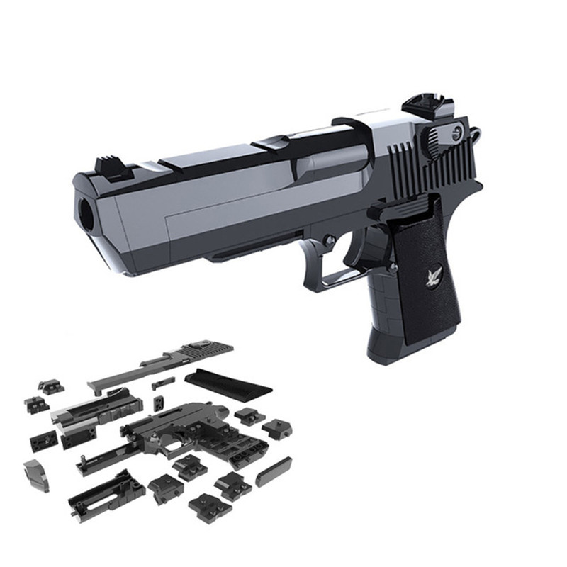 DIY Model Toy Gun Building Blocks Bricks Desert Eagle Assembly Brain Game with Instruction Book Can Fire Bullets gifts for kids