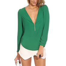 2017 NEW Summer Women Fashion Green Sexy Long Sleeve V-neck Zippered Blouses Chiffon Blouses Shirts Work Wear Tops