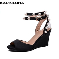 26de99573 KarinLuna New Women S Ankle Strap Wedges High Heels Solid Shoes Woman  Casual Summer Sandals Black
