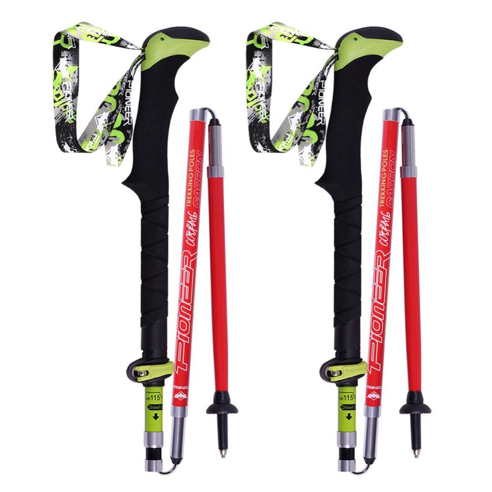 цена New 1 pair Telescopic Hiking Alpenstock Carbon Fiber Ultra-light Climbing Cane Foldable Ski Pole Walking Sticks