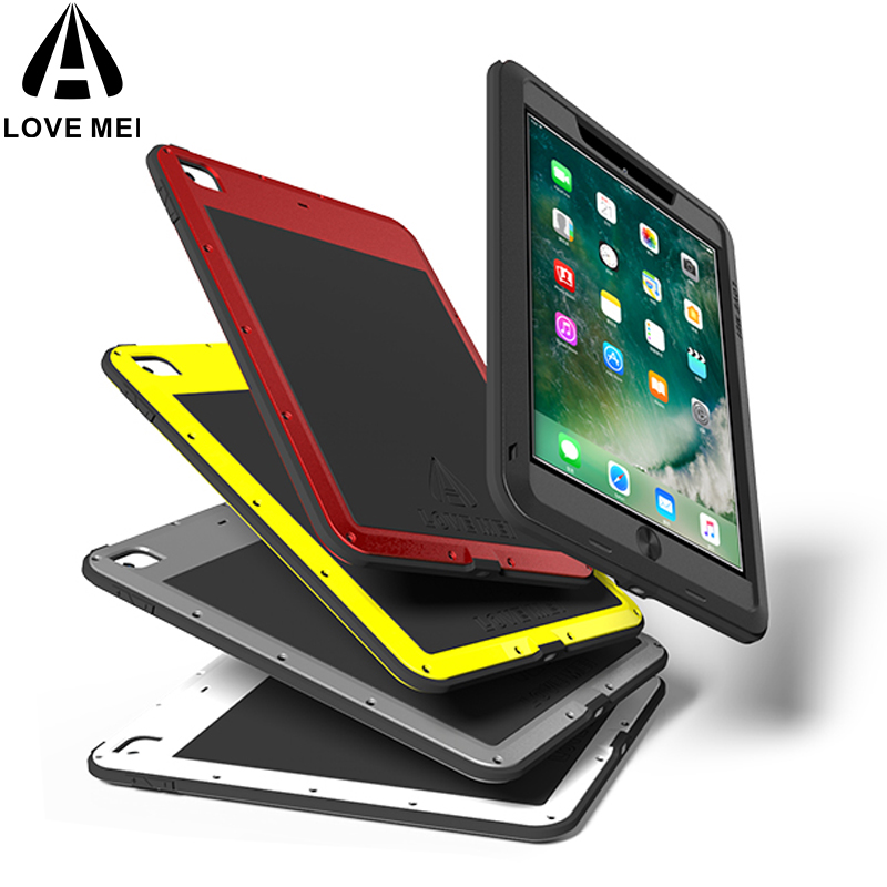 LOVE MEI En Aluminium En Métal Pour Nouvel iPad 9.7 2018/2017 Cas Puissant Antichoc Forte Pour Nouveau 9.7 étui iPad gorille Verre Trempé