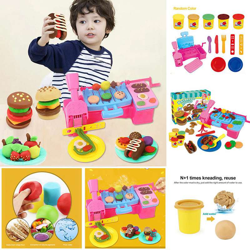 3d Educational Toys Diy Handmade Flour Green Clay Color Plasticine Mold Parent Child Interactive Toy Barbecue Set