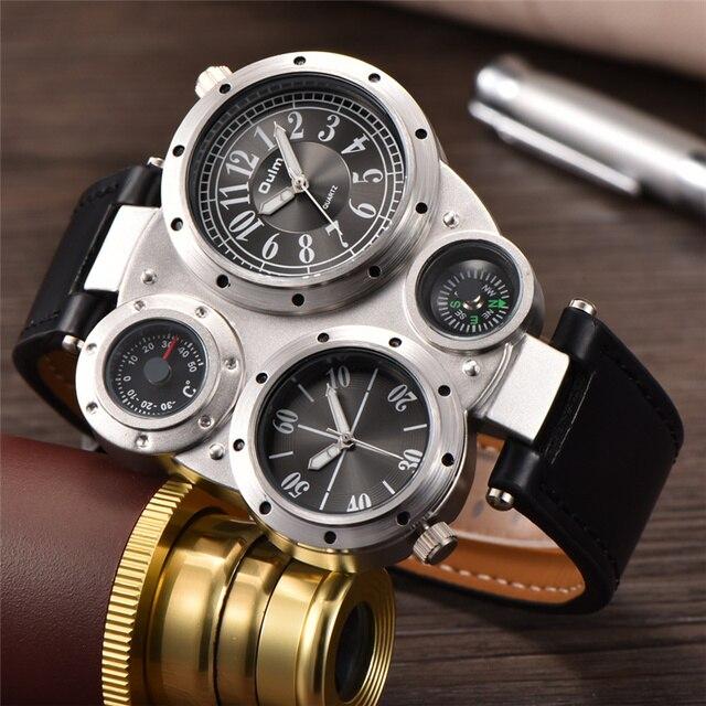 Oulm Unique Sports Mens Watches Top Brand Luxury 2 Time Zone Quartz Watch Decorative Compass Male Wrist Watch